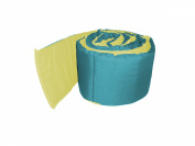 Baby Doll Bedding Solid Reversible Crib Bumper, Aqua/Yellow
