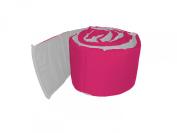 Baby Doll Bedding Solid Reversible Crib Bumper, Hot Pink/Grey