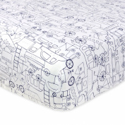 Just Born 100% Cotton Fitted Crib Sheets, Transit Navy