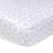 Just Born 100% Cotton Fitted Crib Sheets, Trellis Lilac