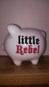 Ceramic White Little Rebel Piggy Bank From Tender Kisses