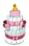 Sunshine Gift Baskets - Little Ducky Pink Nappy Cake Gift Set