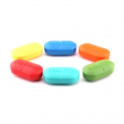 Yosoo Set of 4 Portable Classify Mini Pill Box Drug Storage Case with 6 Compartments, Lovely Pill Dispenser Medicine Organiser Container