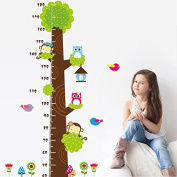 Owls Monkeys Tree Birds Flowers Mushrooms Height Measurement Wall Decal PVC Home Sticker House Vinyl Paper Decoration WallPaper Living Room Bedroom Kitchen Art Picture DIY Murals Girls Boys kids Nursery Baby Playroom Decor