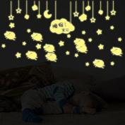 Good Night Baby Moon Stars Night Lighting Wall Decal PVC Home Sticker House Vinyl Paper Decoration WallPaper Living Room Bedroom Kitchen Art Picture DIY Murals Girls Boys kids Nursery Baby Playroom