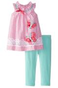 Rare Editions Newborn Girl Spring Seersucker Butterfly Capri Set
