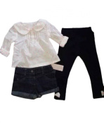 Infant Baby Girls Jean Short Set 3pc Outfits
