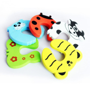 Children Safety Door Stopper. No Finger Pinch Foam ,Colourful Cartoon Animal Cushion - Ramdom Bundled Baby Child Kid Cushiony Finger Hand Safety, Curve Shaped Door Stop Guard 5 Pcs Pack