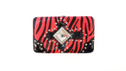 ANNIE'S FASHION Women's 3D Rhinestone Large Cross with Zebra Print Wallet