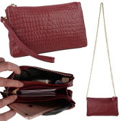 Yahoho Women's Large Capacity Leather Smartphone Clutch Wristlet Wallet with Shoulder Chain