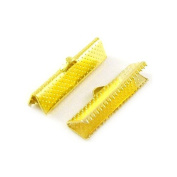 Packet of 30 x Gold Plated Iron 8 x 25mm Ribbon Ends/Clamps - (HA13090) - Charming Beads