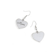 1 Pairs Jewellery Making Antique Silver Tone Earring Supplies Hooks Findings Charms Z3RA7 Mum Love Heart