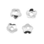 Packet of 100+ Silver Brass 4mm Flower Bead Caps - (HA12995) - Charming Beads
