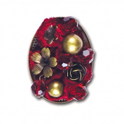 Gafforelli - Made in Italy Velvet + Glass + Metal Brooch (4cm ) in colour Bordeaux and Old Brass