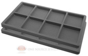 2 Grey Insert Tray Liners W/ 8 Compartments Drawer Organiser Jewellery Displays