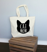 Cat Mom Xl Tote in Natural Colour
