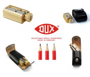 Legendary DUX Adjustable Pencil Sharpener - brass in a genuine leather case - Made in Germany