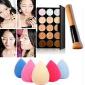 Shensee 15 Colours Makeup Concealer Contour Palette + Water Sponge Puff + Makeup Brush
