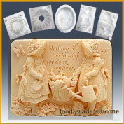 Gardening Girls - Detail of High Relief Sculpture - Silicone Soap/sugar/fondant/chocolate/marzipan 2d Mould