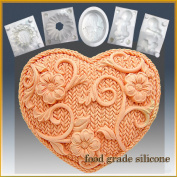 Crochet Heart - Detail of High Relief Sculpture - Silicone Soap/sugar/fondant/chocolate/marzipan 2d Mould