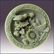 Garden Loving Birds on Sunflowers- Detail of High Relief Sculpture - Silicone Soap/polymer/clay/cold Porcelain Mould