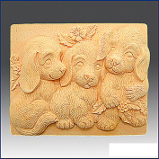 Trio of Puppies - Bar- Detail of High Relief Sculpture - Silicone Soap/polymer/clay/cold Porcelain Mould