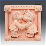 Teddy Bear Kiss- Detail of High Relief Sculpture - Silicone Soap/polymer/clay/cold Porcelain Mould