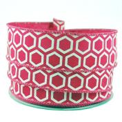 Honeycomb Print Pink Satin Wired Ribbon #23cm - 3.8cm x 10 yards