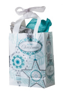 Festive Holiday Presents Ornaments 4pc 25cm Gift Bag White/Teal