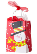 Festive Holiday Presents Snowman 4pc 25cm Gift Bag Red/Multicoloured