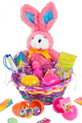 Veil Entertainment Easter Ribbon Bunny 11pc Easter Basket Pink