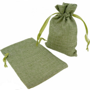 Stylish Mix Colour Linen Pouches with Ribbon Drawstring for Gift Packaging, 2 Sizes Available Pack of 10
