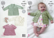 King Cole Baby Double Knitting Pattern Matinee Coat Angel Top & Cardigan Cottonsoft DK