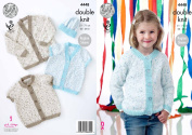 King Cole Girls Double Knit Pattern Raglan Sleeve V or Round Neck Cardigans & Hat Smarty DK