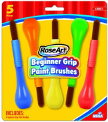 RoseArt Beginner Grip Bulb Paint Brushes, 5-Count, Packaging May Vary