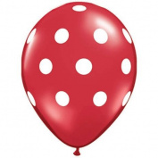 Red Polka Dot Balloons (10 Pack) - 30cm Inflatable Latex Balloons, Red Birthday or Christmas Party Decorations, Polka Dot Red Holiday Wedding Supplies
