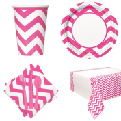 Chevron Basic School Colours Tableware 57pc Party Pack Pink/White