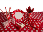 Polka Dot Deluxe School Colours Tableware 92pc Party Pack Red/White