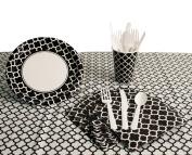 QuatreFoil Basic School Colours Tableware 57pc Party Pack White/Black