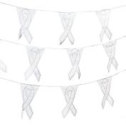 White Awareness Ribbon Pennant Banner