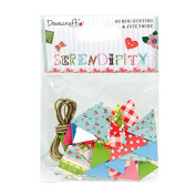 Dovecraft Serendipity Mini Bunting-60 Printed Die-Cut Triangles & Twine