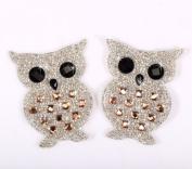 IDM5M 7cm x 5cm One pair Owl Rhinestone Crystal Hotfix Iron on Motif Appliqué with Pink Stones