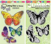 Stampendous Butterfly Trio Cling Stamp & Die Set - 2 Item Bundle