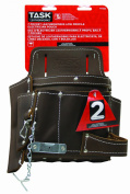 Task Tools T77322 Leather Electrician's Tool Bag, 7-Pocket