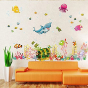 Amaonm® Under the Sea Decals Whales The Deep Blue Sea Decorative Peel Vinyl Wall Stickers Wall Decals Removable Decors for Bedrooms Kids Rooms Baby Nursery Boys and Girls Bedroom