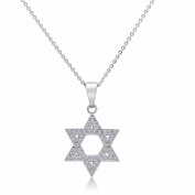 Sterling Silver Cubic Zirconia Round Micro Pave Star Of David Pendant Necklace