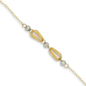14K Two-Tone Gold Adjustable Teardrop Cages and Mirror Beads With 2.5cm Extender Anklet Bracelet, 23cm