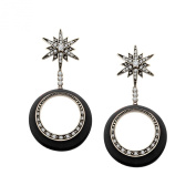 Cristina Sabatini Orbital Star Drop Earrings with Cubic Zirconia in Sterling Silver