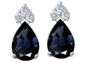Tommaso Design Genuine Sapphire Earrings in 14 kt White Gold