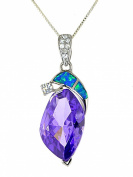 Sterling Silver Fantasy-cut Simulated Amethyst and Created Opal Pendent Necklace